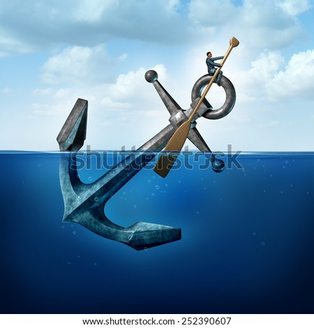 Positive thinking and resilience business concept with a person on a floating anchor rowing with a paddle as a symbol of moving forward despite restrictions and challenges. - stock photo