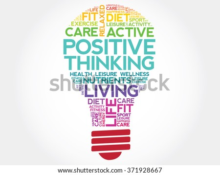 Positive thinking bulb word cloud, health concept - stock photo