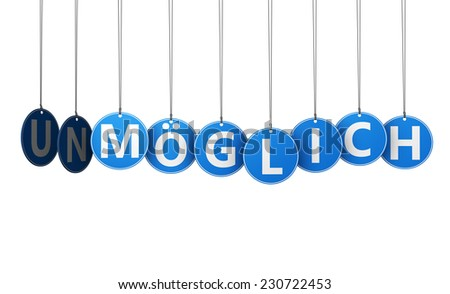Positive thinking business concept with possible german text and sign on blue hanged tags isolated on white background. - stock photo