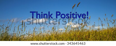 Positive Thinking, concept for business strategy, ideas, optimism and business acumen and attitude towards challenge, obstacles, hurdles and success. Panorama. - stock photo