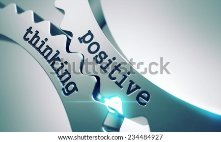 Positive Thinking Concept on the Mechanism of Metal Gears. - stock photo