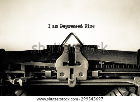 Positive Thinking for Depression typed on a Vintage Typewriter.  - stock photo