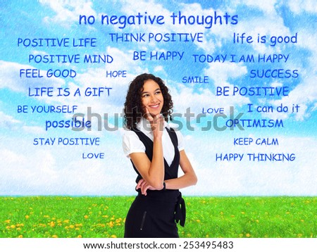 Positive thinking girl over abstract background. Positivity concept design. - stock photo