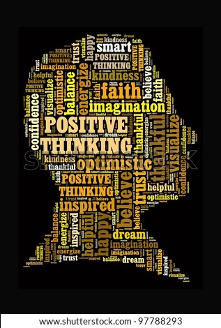 Positive Thinking in word collage - stock photo