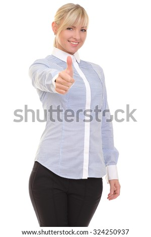 positive woman on white background - stock photo