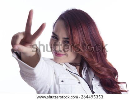 Positive young girl portrait over white background - stock photo
