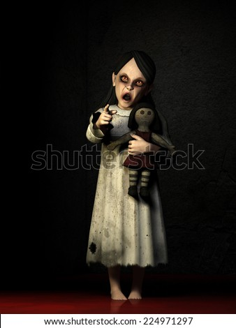 Possessed Little Girl - A possessed little girl with glowing red eyes and standing in a pool of blood holding a doll is pointing at you. Happy Halloween - stock photo