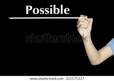 Possible Woman writing word with black screen - stock photo
