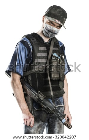 post-apocalyptic soldier. style of dress from middle of 90's. shot in studio. isolated with clipping path on white background - stock photo