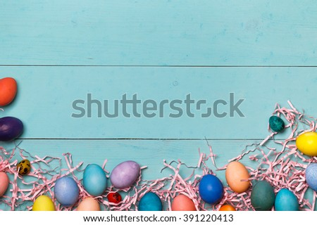 Post blog social media Easter. View from above with copy space. Banner template layout mockup for happy Easter. Blue wooden table, top view on workplace. Have Yourself Happy Easter.  - stock photo