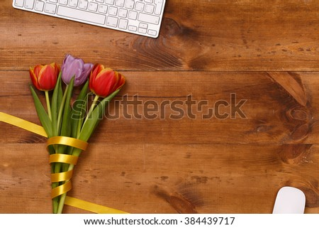 Post blog social media 8 march. View from above with copy space. Banner template layout mockup for woman day. Wooden table, top view on workplace. Tulips at  Desk. Mother day. - stock photo