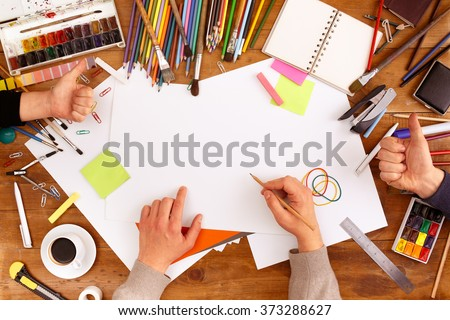 Post blog social media. View from above with copy space. Background for banner template layout mockup. Brown wooden table, top view on workplace. Desktop workplace designer, artist, painter top view. - stock photo