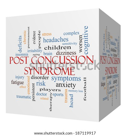 Post Concussion Syndrome 3D cube Word Cloud Concept with great terms such as brain, injury, trauma and more. - stock photo