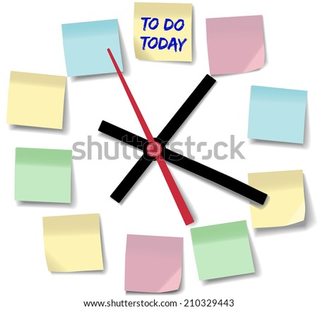 Post daily to do list schedule on memo notes on time clock - stock photo