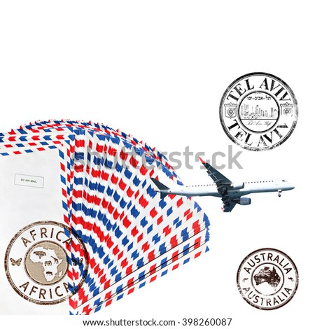Post envelopes, plane and post stamps. White background. Air mail theme - stock photo