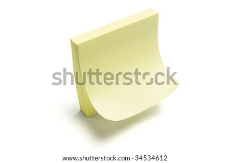 Post It Note Pad on White Background - stock photo