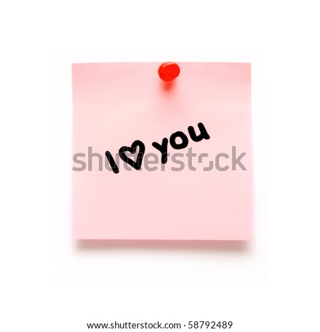post-it note with handprinted i love you isolated - stock photo