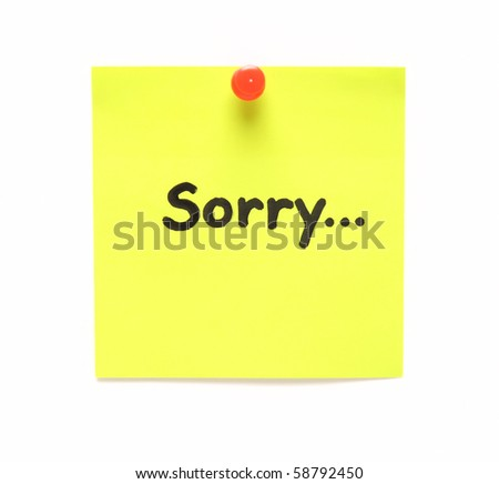 post-it note with handprinted sorry isolated - stock photo