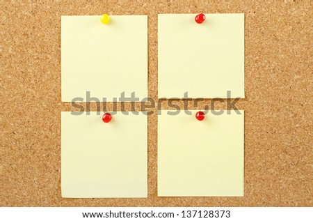 post it notes on corkboard - stock photo