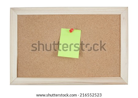 post it notes on corkboard on white background - stock photo