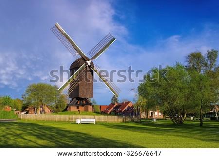 post mill Papenburg  - stock photo