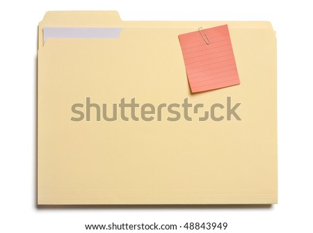 Post note clipped on a file folder isolated on white. - stock photo