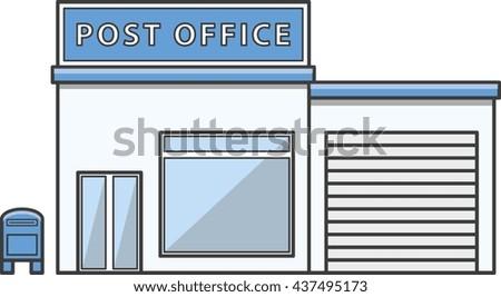 Post office  Illustration cartoon - stock photo