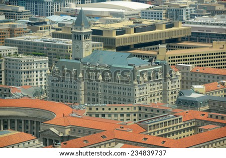 Post Office Pavilion aerial View from the top of Washington Monument in Washington, District of Columbia, USA - stock photo