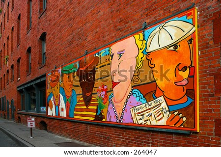 Post Street art mural - Seattle - stock photo