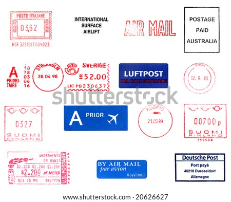 Postage meters, rubber stamps, mail labels isolated over white - stock photo