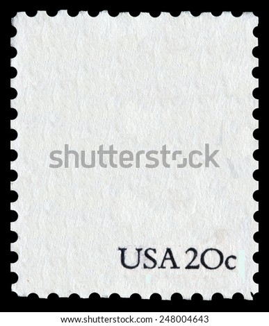 """postage stamp reverse. Postal stamp white shape on black background with the sign """"USA 20 c"""" - stock photo"""