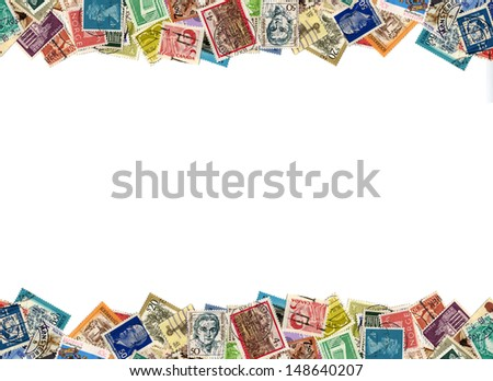 Postage stamps from many different countries, copy space - stock photo