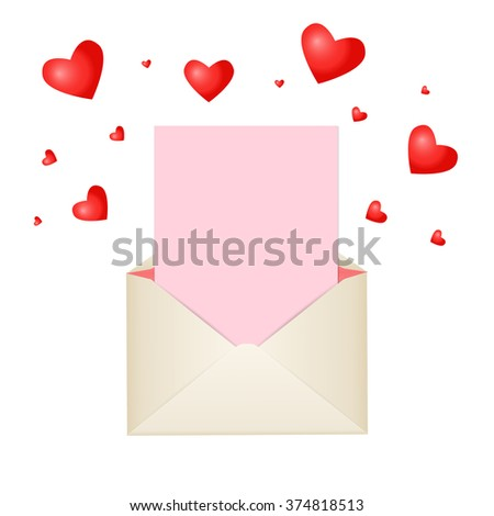 Postal envelope with piece of paper and red hearts for greeting with Valentine Day or for your wedding invitations or thank you cards. Red heart around the envelope symbolize love and romance. - stock photo