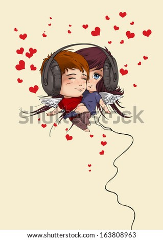 Postcard for Valentine Day with boy and girl in headphones - stock photo
