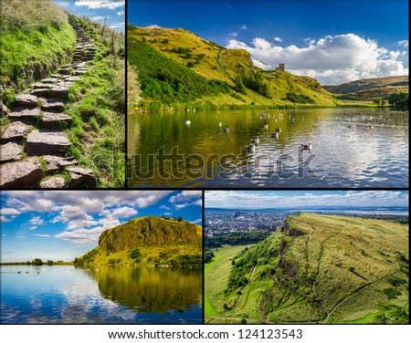 Postcard from the top of Arthur Seats in Edinburgh - stock photo