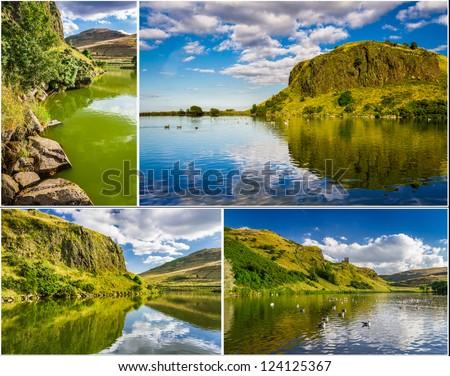 Postcard, lake in sunny Edinburgh - stock photo