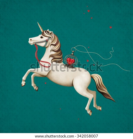 Postcard or poster with  circus performance horse with  heart in  cage - stock photo