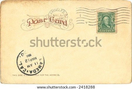 Postcard 1904, posted in Los Angeles - stock photo