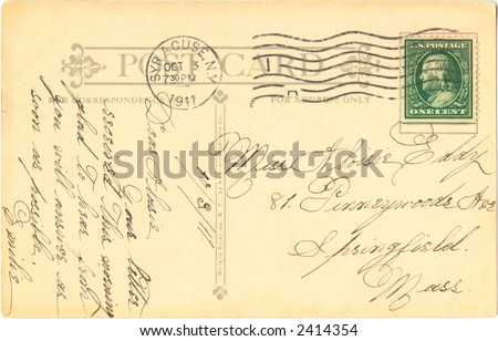 Postcard 1905, posted in Syracuse, NY - stock photo