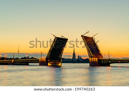 Postcard view of Palace Bridge with Peter and Paul Cathedral - symbol of St. Petersburg White Nights, Russia. - stock photo