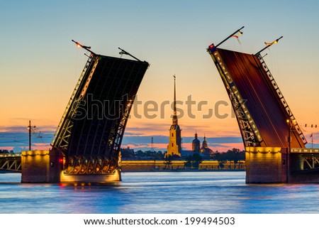 Postcard view of Palace Bridge with Peter and Paul Fortress - symbol of St. Petersburg White Nights, Russia. - stock photo
