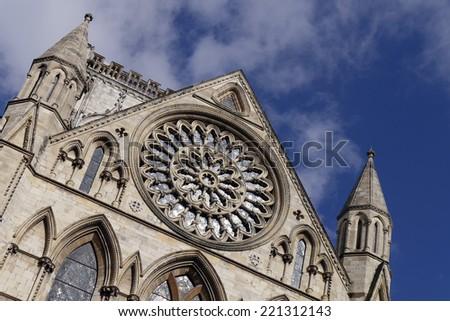 Postcard view of York Minster Rose window. York, North Yorkshire, England, UK. - stock photo