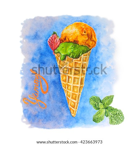 Postcard watercolor illustration of a sweet dessert of ice cream with  orange, mint and strawberries - stock photo