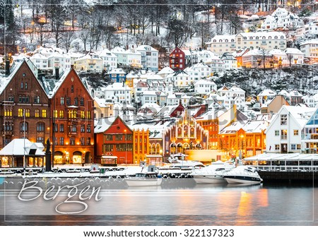 postcard with Famous Bryggen street with wooden colored houses in Bergen, Norway - stock photo