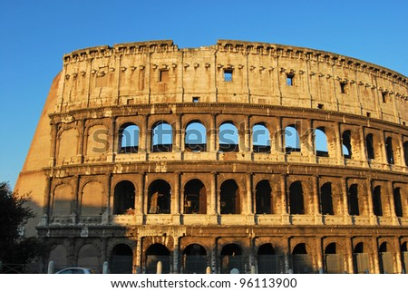 Postcards of Rome - Colosseum - Italy 003 - A striking image of the Colosseum of Rome at dawn - stock photo