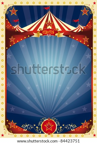 poster fun circus. A background with a large copy space and a big top for your message. - stock photo