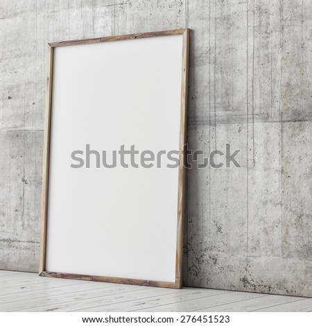 poster mock up, concrete wall background, 3d illustration - stock photo