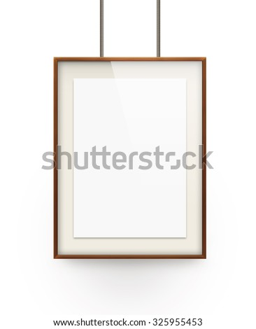 Poster mock up in the wooden frame isolated on white background. Nice mockup to show your design, picture or illustration. Blank sheet in wood canvas. Display portfolio with poster holder stand. - stock photo