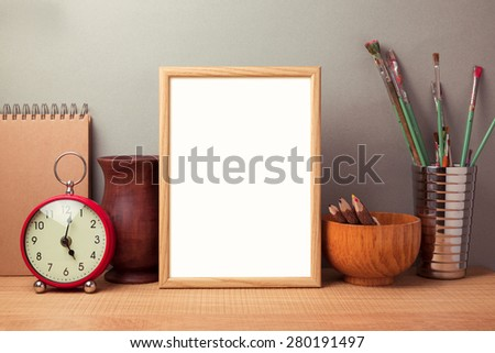 Poster mock up template with brushes and retro objects - stock photo