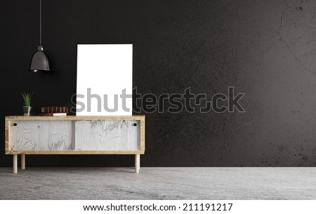 Poster on shelf in room - stock photo
